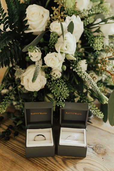 Wedding bands in ring boxes