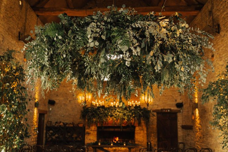 Foliage chandelier at Cripps Barn wedding venue