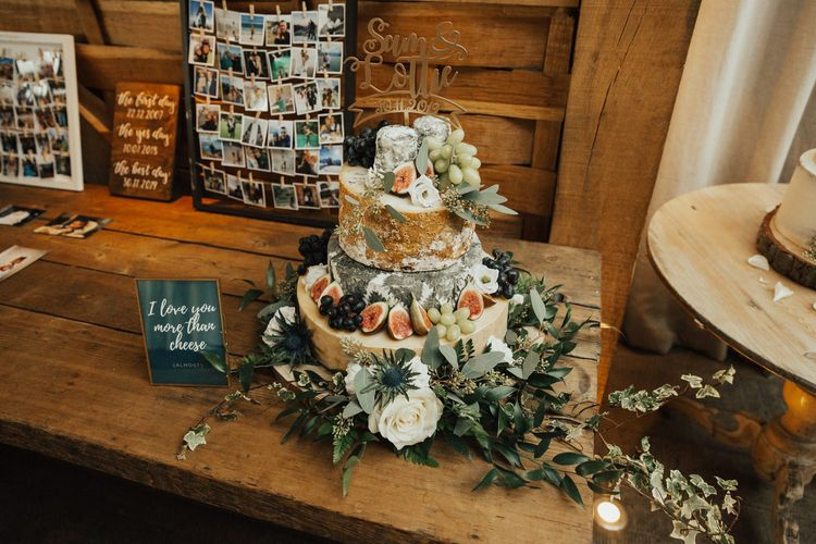 Cheese tower wedding cake at November wedding