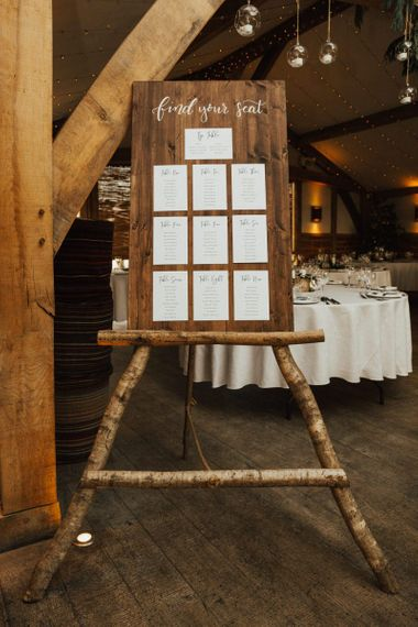 Wooden Seating chart and easel for rustic wedding