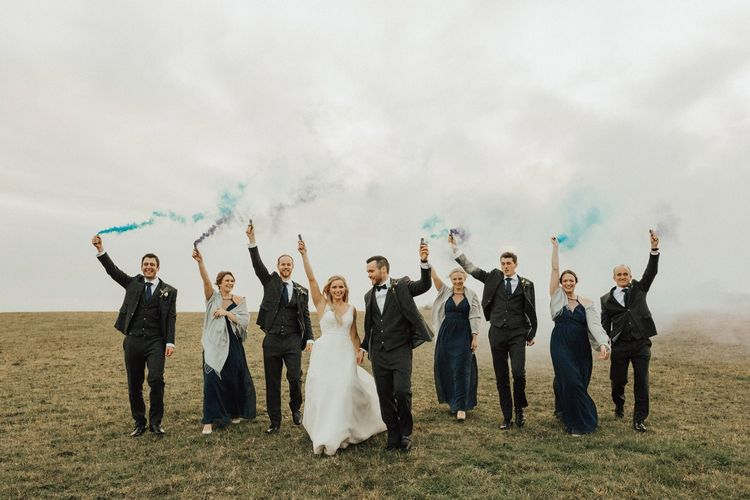 Smoke bomb wedding portrait for November wedding