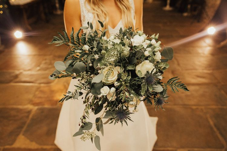 Green and white wedding flower bouquet  for November wedding