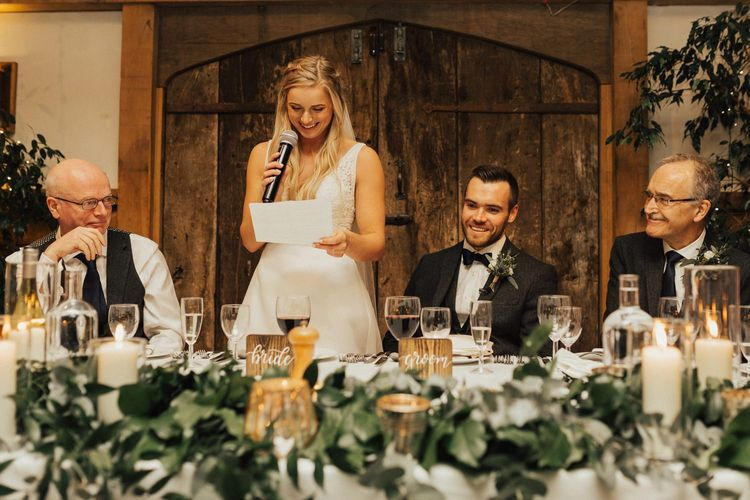 Brides speech at Cripps Barn for November wedding