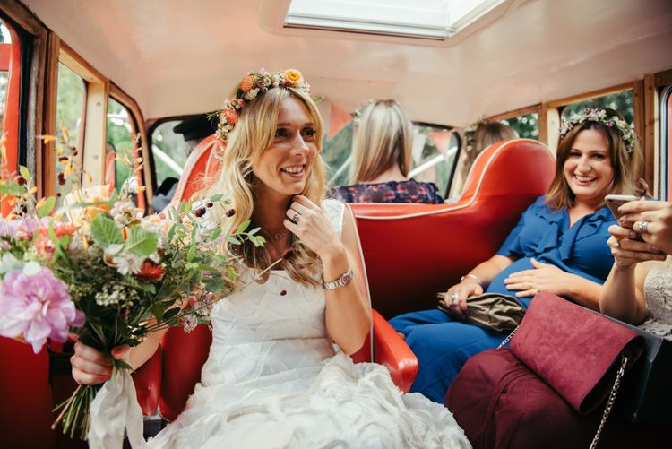 Vintage Fire Truck Wedding Transport // Boho Pub Wedding At The Crooked Billet Stoke Row With Bride & Bridesmaids In Flower Crowns And Vintage Fire Truck With Images From Ed Godden Photography
