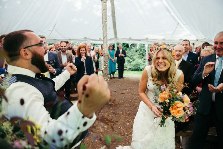 Wedding Ceremony In Marquee // Boho Pub Wedding At The Crooked Billet Stoke Row With Bride & Bridesmaids In Flower Crowns And Vintage Fire Truck With Images From Ed Godden Photography