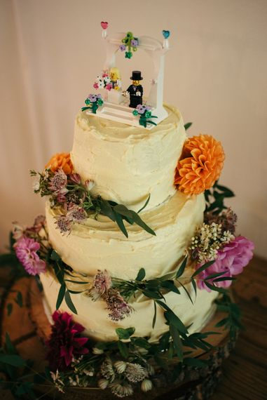 Buttercream Wedding Cake With Lego Bride & Groom // Boho Pub Wedding At The Crooked Billet Stoke Row With Bride & Bridesmaids In Flower Crowns And Vintage Fire Truck With Images From Ed Godden Photography