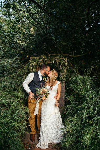 Boho Pub Wedding At The Crooked Billet Stoke Row With Bride & Bridesmaids In Flower Crowns And Vintage Fire Truck With Images From Ed Godden Photography