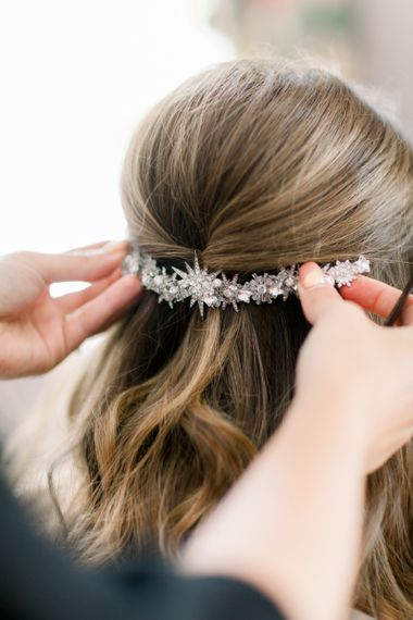 Miss Clemmie bridal accessory for half up half down wedding hairstyle
