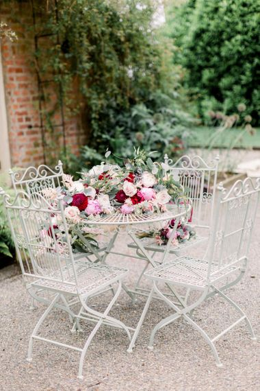 Romantic pink wedding bouquets with roses at Garthmyl Hall