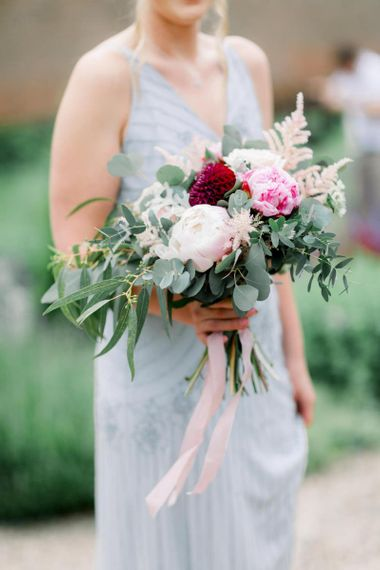 Bridesmaid bouquet with pink and white peonies and eucalyptus