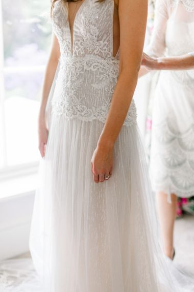 Lace and tulle wedding dress by Emma Beaumont