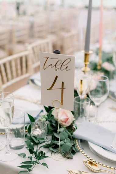 Table number sign with gold foil font