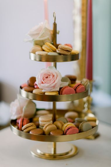 Macaroon tower in gold cake stand
