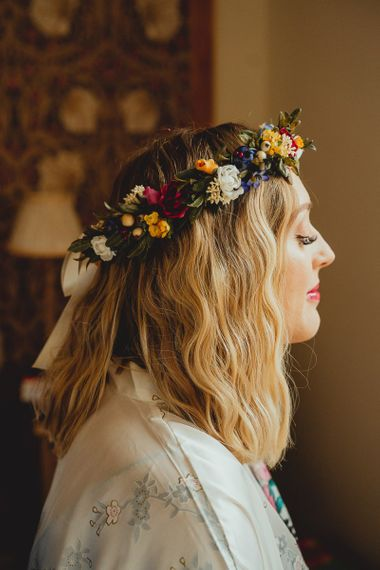 Bright flower crown for bride with DIY wedding bunting and flowers