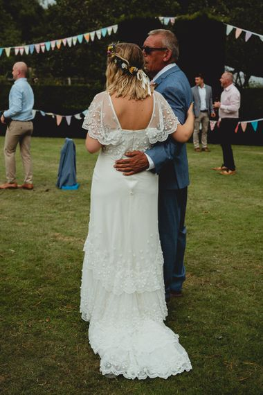 Boho lace bride dress with flower crown