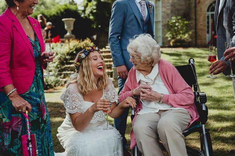Bride enjoys guests company