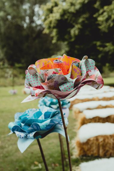 DIY wedding bunting and crafted flowers
