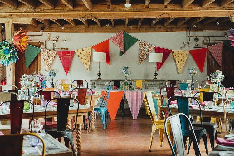 Norfolk venue with wedding bunting and DIY wedding decor