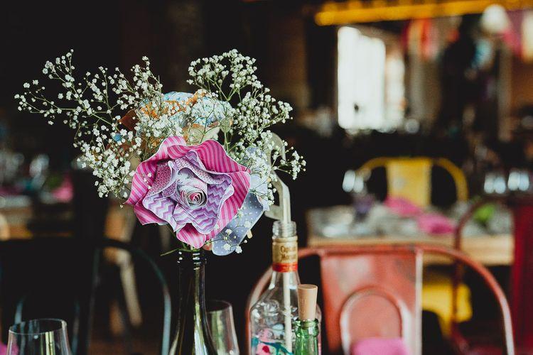 DIY wedding flowers and wedding bunting at Norfolk wedding venue