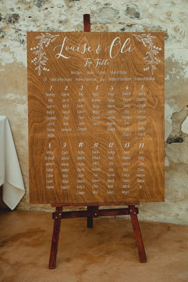 Wooden wedding sign and seating chart for Summer wedding