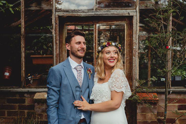Bride wears flower crown for summer wedding