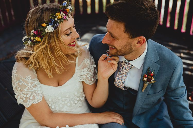 Bride wears flower crown for boho wedding in Norfolk