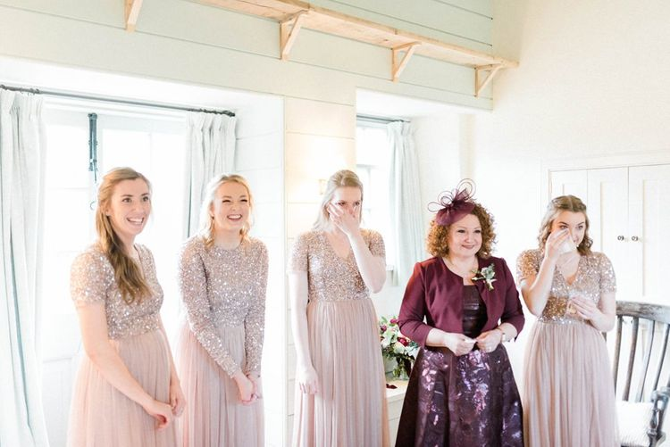 Bridesmaids in blush sequin nd tulle Maya dresses