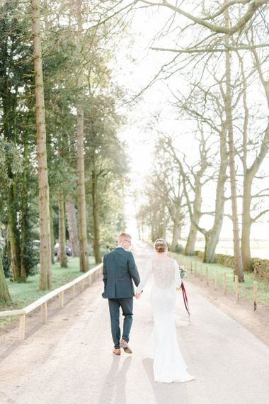 Bride and groom portrait at February wedding
