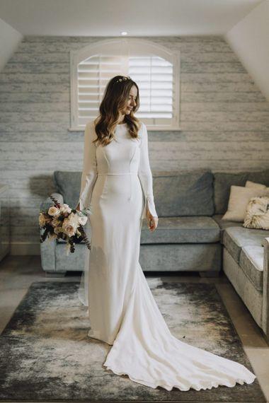 Stylish Bride in Bespoke Emma Beaumont Wedding Dress