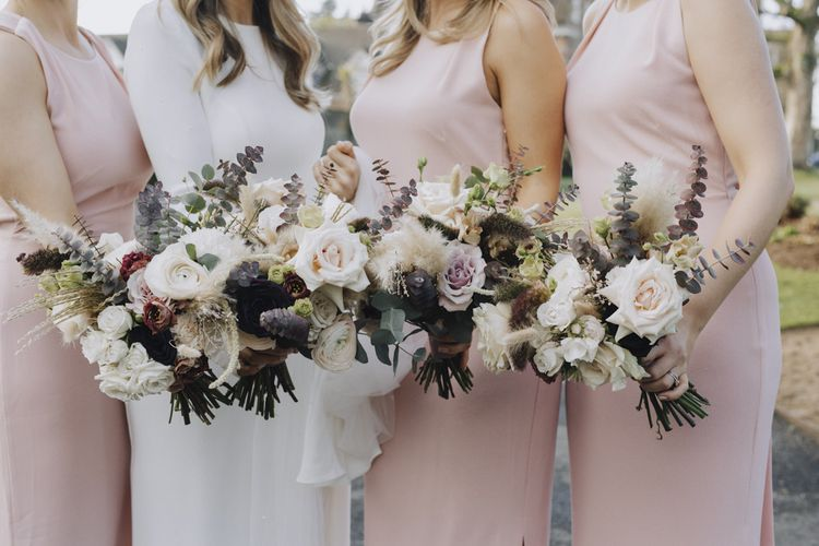 Blush Pink and White Wedding Party Bouquets