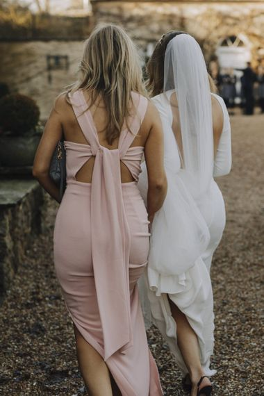 Bridesmaid in Pink Whistles Dress with Tie Back Detail