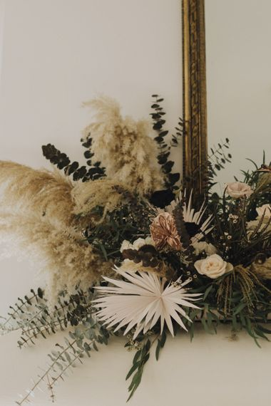 Fireplace Flowers with Dried Palm Leaves, Grasses, Foliage, Muted Flowers