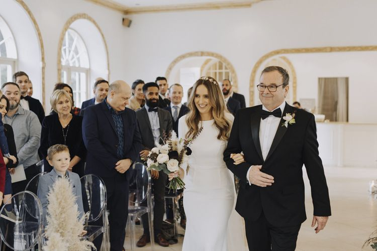 Wedding Ceremony Bridal Entrance with Bride in Bespoke Emma Beaumont Wedding Dress