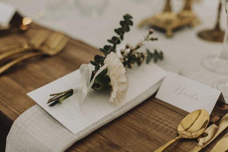 Eucalyptus and Carnation Place Setting Flowers