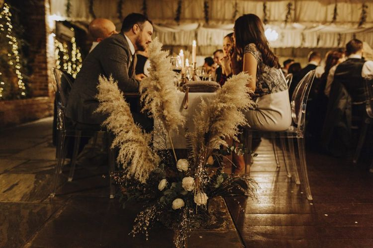Trestle Table Floral Arrangement with Pampas Grass