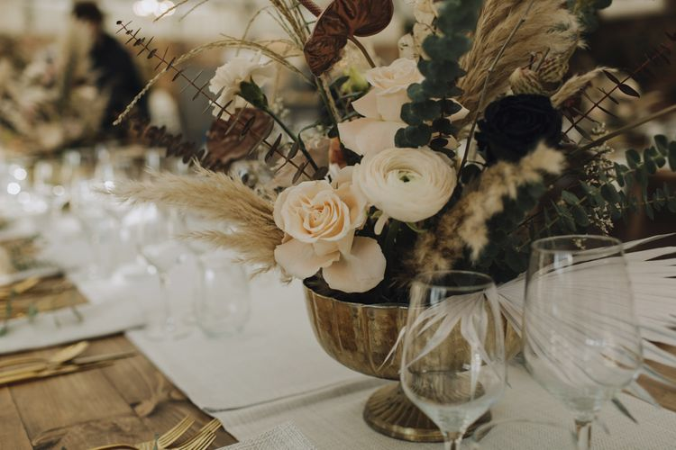 Soft Muted Flowers, Dried Grasses and Foliage Wedding Flower Arrangement