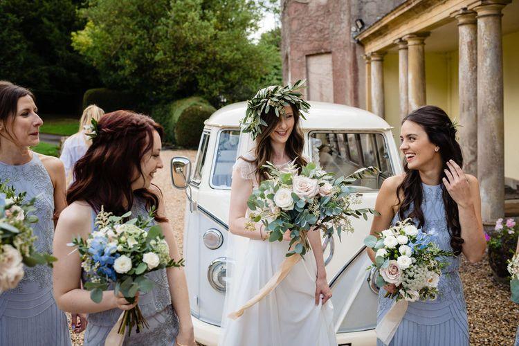 Bridal Party Arriving in VW Camper Van