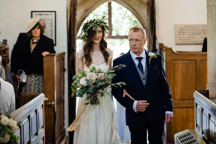 Church Bridal Entrance in Charlie Brear Wedding Dress and Olive Branch Flower Crown