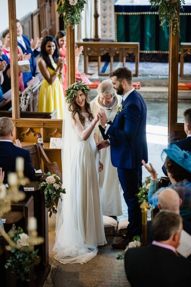 Church Wedding Ceremony with Bride and Groom at the Altar