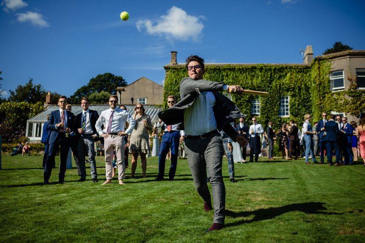 Cricket Lawn Games at Pennard House Wedding Venue