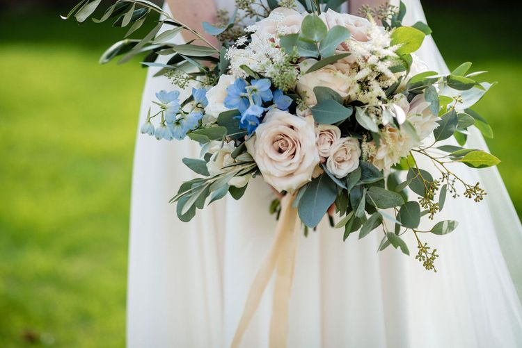 Pastel Pink and Blue Flower Wedding Bouquet with Foliage