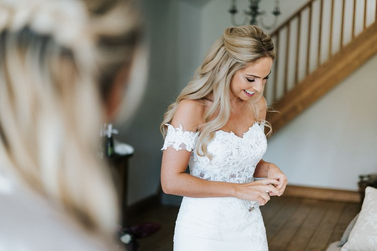 Bridal Morning Preparations with Bride in St. Patrick Wedding Dress