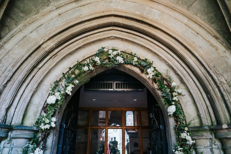 White and Green Church Floral Arch Wedding Flowers