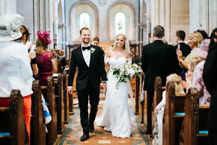 Bride and Groom Married at a Church Wedding Ceremony