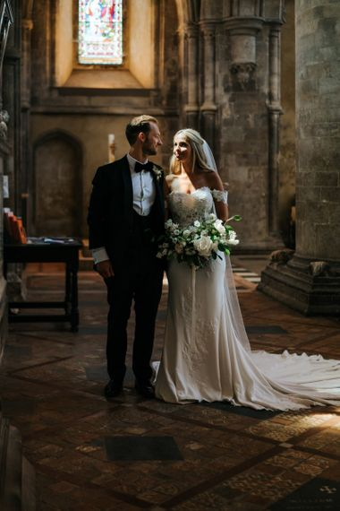 Bride and Groom Church Wedding Portrait