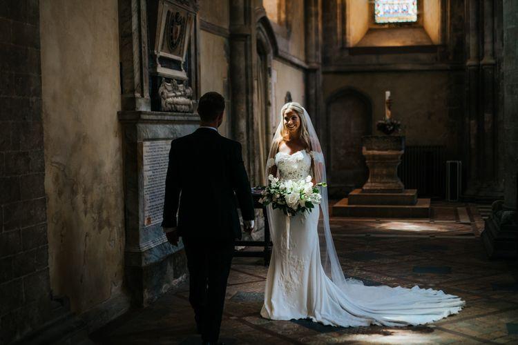 Bride and Groom Church Wedding Portrait with Dappled Light