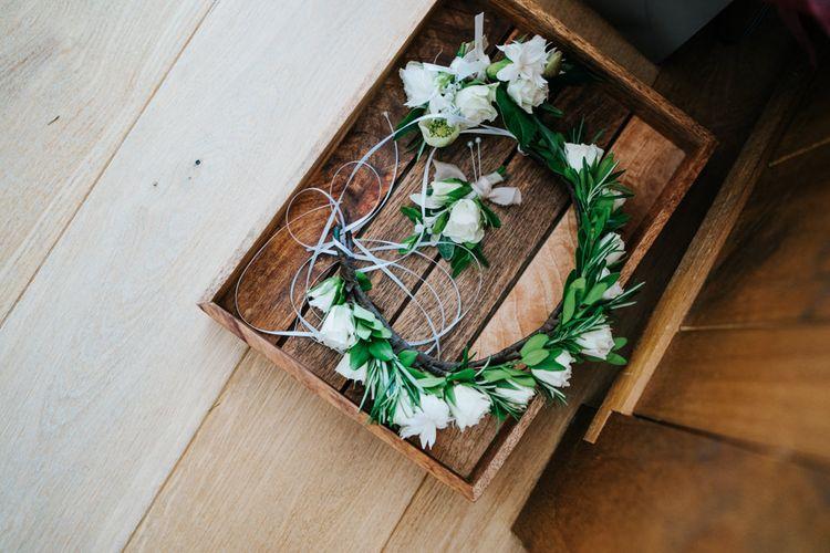 White Rose Flower Crown & Buttonholes