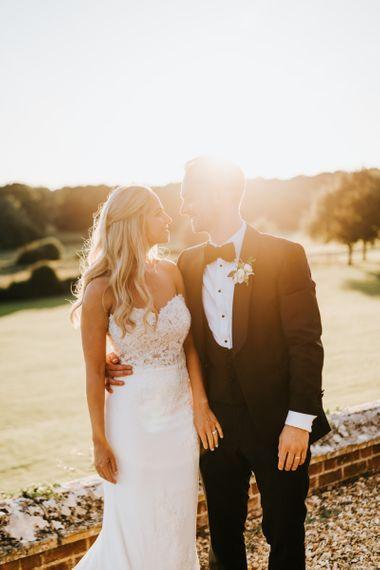 Golden Hour Bride and Groom Wedding Portrait