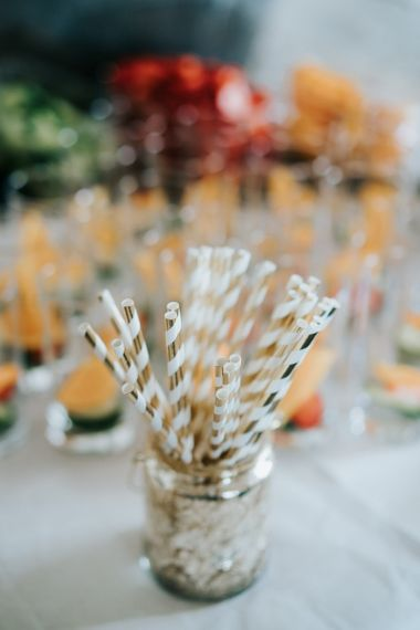 Gold and White Striped Straws
