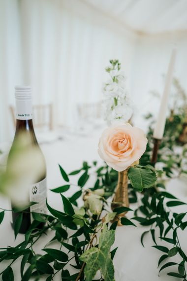 Peach Rose Flower Stem in Gold Vessel with Greenery